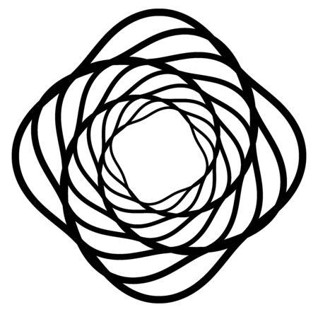 Monochrome volute, vortex shapes. Twisted helix elements. Rotation, spin and twist concept design Vektorgrafik