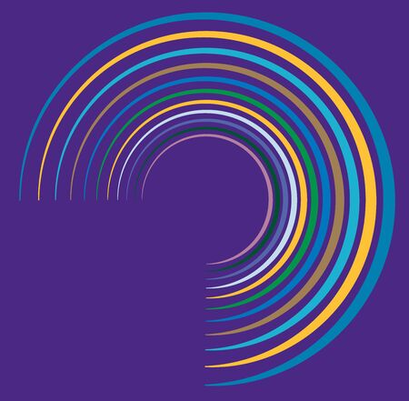 Single mottled, multi-color and colorful spiral, swirl, twirl element. Twisted cyclic, circular and radial, radiating whorl, volute shape over colored backdrop, background