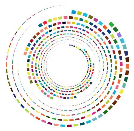 Single mottled, multi-color and colorful spiral, swirl, twirl element. Twisted cyclic, circular and radial, radiating whorl, volute shape