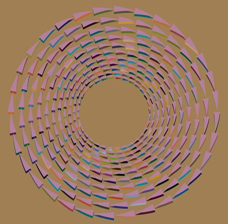 multi-color curly, coil, gyration volute shape. twine vortex rotating in concentric, radial, radiating and circular, circling fashion