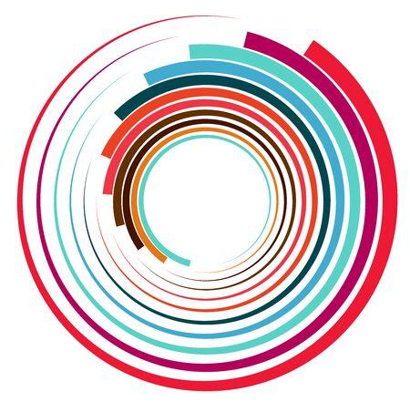 Single mottled, multi-color and colorful spiral, swirl, twirl element. Twisted cyclic, circular and radial, radiating whorl, volute shape Vektoros illusztráció
