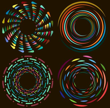 Set of mottled, multi color and colorful spiral, swirl, twirl shapes. Vortex, whorl shape with rotation, spin, coiling distortion effect Banco de Imagens - 143460665