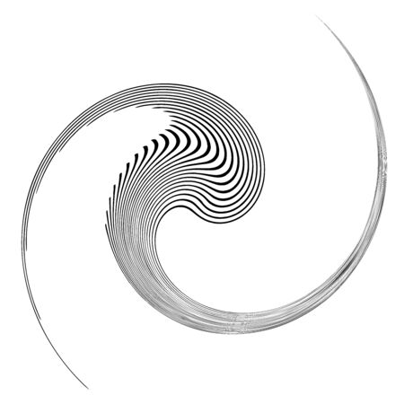 Monochrome volute, vortex shapes. Twisted helix elements. Rotation, spin and twist concept design Vector Illustratie
