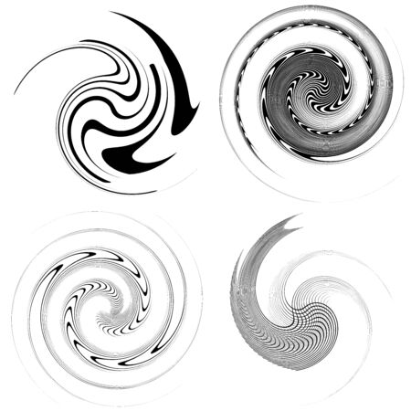 Set of black and white vortex, volute shapes. Twisted helix elements 일러스트