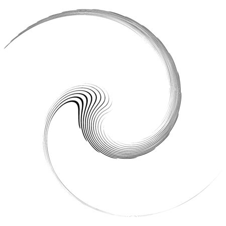 Monochrome volute, vortex shapes. Twisted helix elements. Rotation, spin and twist concept design