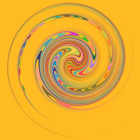 Smudged, smeared creamy single mottled, multi-color and colorful spiral, swirl, twirl element. Twisted cyclic, circular and radial, radiating whorl, volute shape over colored backdrop, background Illusztráció