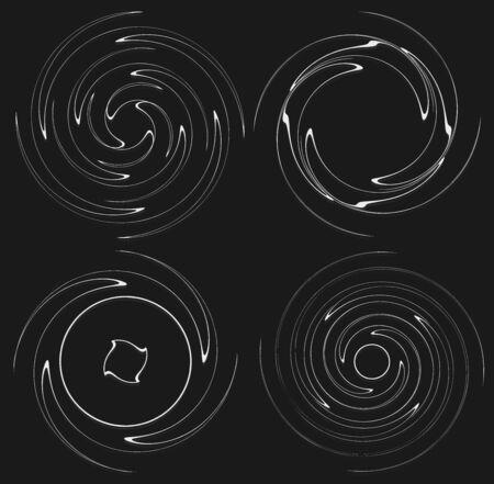 Set of black and white vortex, volute shapes. Twisted helix elements Reklamní fotografie - 143761996