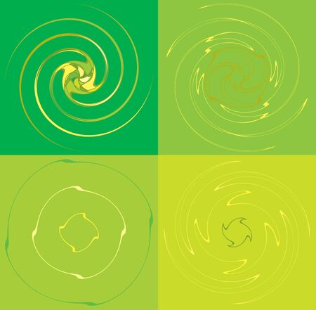 set of colorful, multicolor and monochrome cyclic, cycle concentric rings. revolved spirals, vortexes, whorls. abstract circular, radial loop shapes, elements over colored backdrop, background