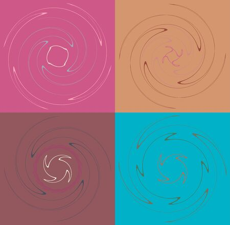 Set of mottled, multi color and colorful spiral, swirl, twirl shapes. Vortex, whorl shape with rotation, spin, coiling distortion effect over colored background, backdrop