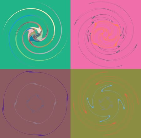 Set of mottled, multi color and colorful spiral, swirl, twirl shapes. Vortex, whorl shape with rotation, spin, coiling distortion effect over colored background, backdrop Reklamní fotografie - 143964706