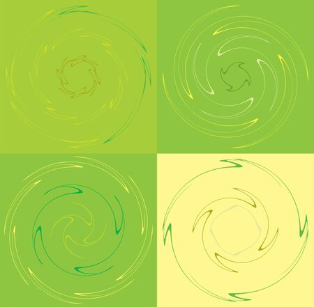 set of colorful, multicolor and monochrome cyclic, cycle concentric rings. revolved spirals, vortexes, whorls. abstract circular, radial loop shapes, elements over colored backdrop, background Reklamní fotografie - 144057059