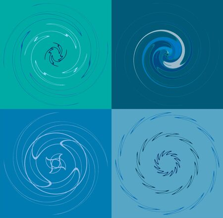set of colorful, multicolor and monochrome cyclic, cycle concentric rings. revolved spirals, vortexes, whorls. abstract circular, radial loop shapes, elements over colored backdrop, background Reklamní fotografie - 144057061