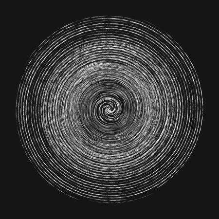 Smudge, smear, grungy monochrome, black and white volute, vortex shape. Twisted helix element. Rotation, spin and twist concept design. Abstract greyscale spiral, swirl, twirl illustration