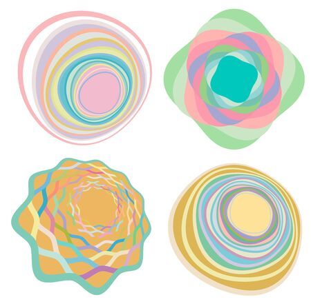 set of creamy, pastel smudged, smeared colorful, multi-color concentric, cyclic rings of different shapes. revolved spirals, vortexes, swirls and twirls. abstract circular, radial loop shapes, elements