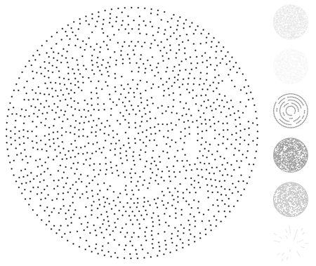 Random dots, circles abstract. Speckles, dotted radial, radiating, circular geometric illustration. Polka-dots, pointillist, pointillism design element Vecteurs