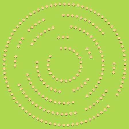 Random dots, circles abstract. Speckles, dotted radial, radiating, circular geometric illustration. Polka-dots, pointillist, pointillism design element