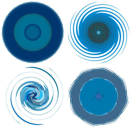 Abstract concentric, radial, concentric spiral, swirl, twirl and vortex shapes. Design elements with rotation, gyre, torsion effect. Abstract circular illustration Vector Illustration