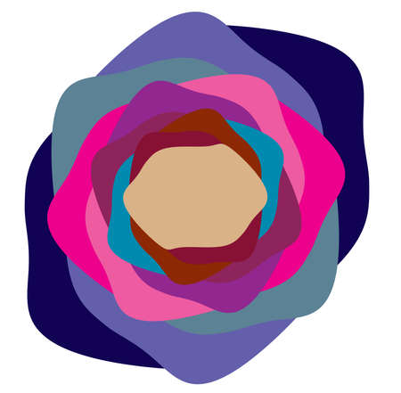 Multi-color abstract radial, concentric spiral, swirl, twirl and vortex shapes. Design elements with rotation, gyre, torsion effect. Abstract circular illustration Illustration