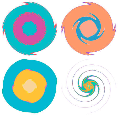 Smooth, pastel, colorful abstract concentric, radial, concentric spiral, swirl, twirl and vortex shapes. Design elements with rotation, gyre, torsion effect. Abstract circular illustration