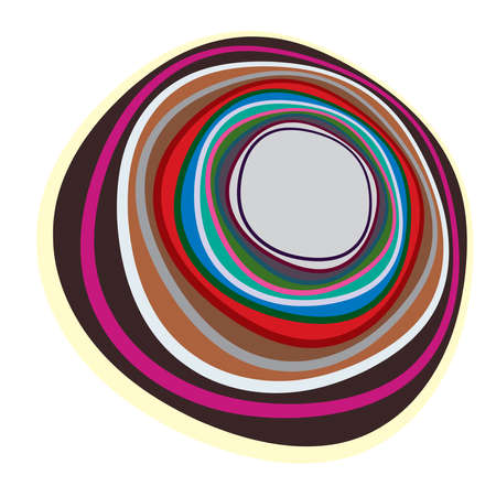 Multi-color abstract radial, concentric spiral, swirl, twirl and vortex shapes. Design elements with rotation, gyre, torsion effect. Abstract circular illustration 일러스트