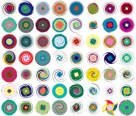 Multi-color abstract radial, concentric spiral, swirl, twirl and vortex shapes. Design elements with rotation, gyre, torsion effect. Abstract circular illustration Illusztráció