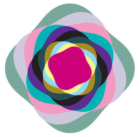 Multi-color abstract radial, concentric spiral, swirl, twirl and vortex shapes. Design elements with rotation, gyre, torsion effect. Abstract circular illustration