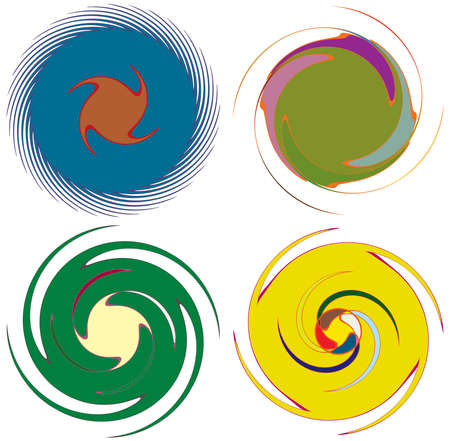 Abstract concentric, radial, concentric spiral, swirl, twirl and vortex shapes. Design elements with rotation, gyre, torsion effect. Abstract circular illustration