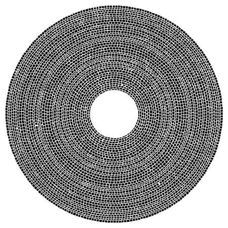 Geometric circle element. Circular stonework, masonry stone circles. Abstract top view well – Stock vector illustration, Clip art graphics