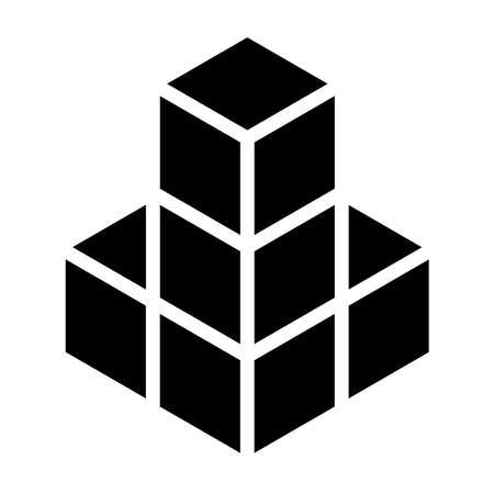 3D Cube, Square icon, symbol (Series) – Stock vector illustration, Clip art graphics