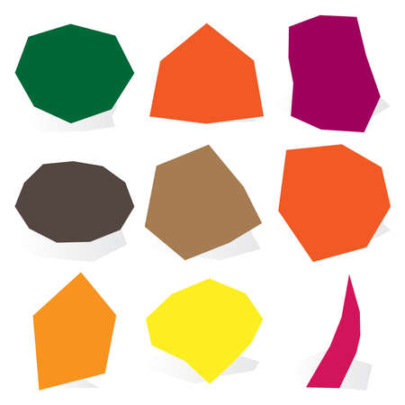 Edgy, geometric stone, pebble shapes.Simple, basic angular, angled element silhouettes.Cracked rock shapes, nuggets for masonry, stonework concepts, themes.Rough, sharp, textured gravel.Gem, gemstones Ilustração Vetorial