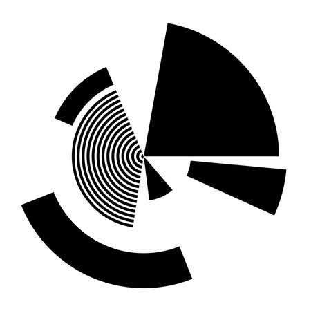 Geometric Sci-fi, Cybernetics, Cyber segmented circle, ring design element. Abstract HUD, GUI, UI circular shape – Stock vector illustration, Clip art graphics Ilustración de vector