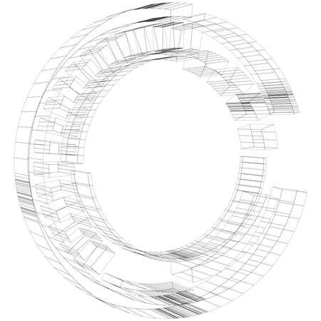 Geometric Sci-fi, Cybernetics, Cyber segmented circle, ring design element. Abstract HUD, GUI, UI circular shape – Stock vector illustration, Clip art graphics
