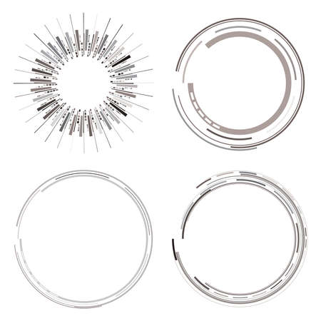 Geometric HUD, sc-fi GUI, UI circular elements. Geometric circle vector – Stock vector illustration, Clip art graphic