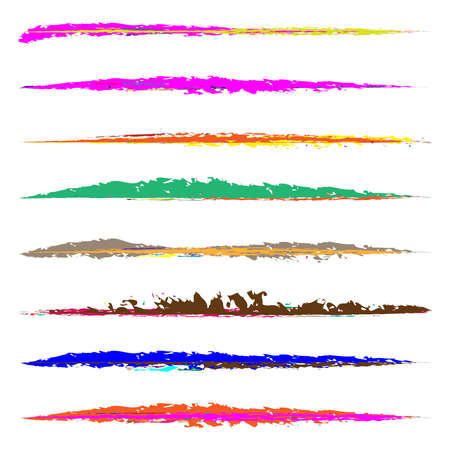 Grungy, grunge, textured brush strokes. Smear, smudge Paint, ink, tint paint brushes, horizontal dividers. Handdrawn scratch, sketch, sketchy lines – Stock vector illustration, Clip art graphics