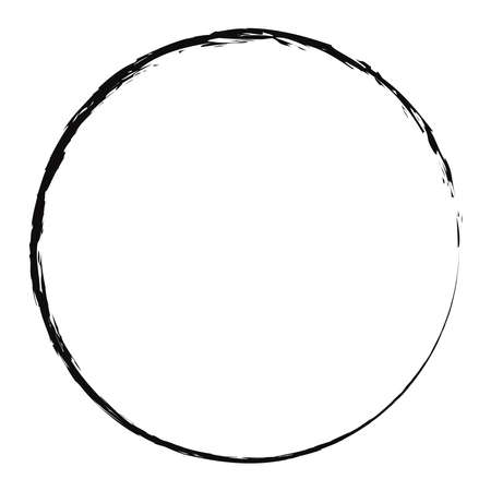Grungy, textured circle, Grunge effect circular element. Smudge, smear paint brush effect. Liquid splatter, splash drawing sketchy, sketch circle. Ink, tint, dye blob, blotch and splodge, blot vector