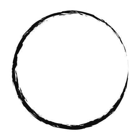 Grungy, textured circle, Grunge effect circular element. Smudge, smear paint brush effect. Liquid splatter, splash drawing sketchy, sketch circle. Ink, tint, dye blob, blotch and splodge, blot vector Ilustração Vetorial