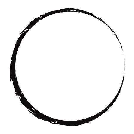 Grungy, textured circle, Grunge effect circular element. Smudge, smear paint brush effect. Liquid splatter, splash drawing sketchy, sketch circle. Ink, tint, dye blob, blotch and splodge, blot vector Ilustración de vector