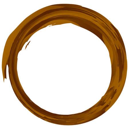 Brown dirt, mud grungy, grunge textured circle. Brownish circular edgy scribble, sketchy element – Stock vector illustration, Clip art graphics