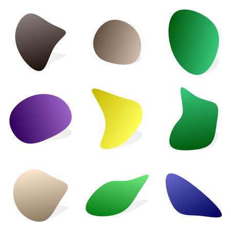 Random blotch, inkblot. Pebble, stone silhouette. Organic blob, blot, speck shape. Splat, fleck. Drop of liquid, fluid. Ink stain, mottle spot irregular shape. Basic, simple rounded, smooth gel form