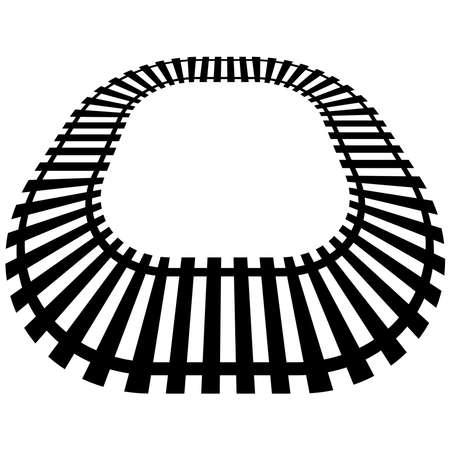 Railroad, Train track, Railway contour, silhouette vector. Tramway, metro, subway path – Stock illustration, Clip art graphics Ilustracje wektorowe