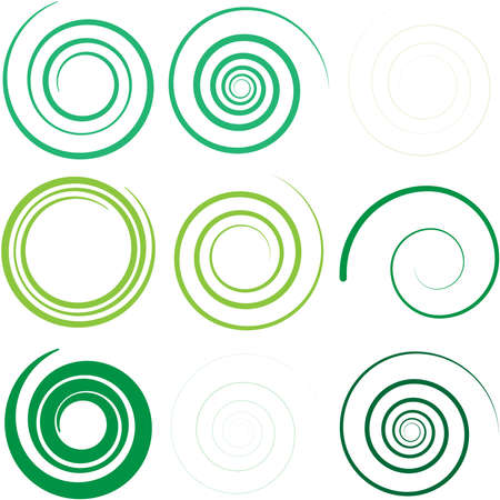 Abstract spiral, twist. Radial swirl, twirl curvy lines element. Circular, concentric loop-hook. Revolved whirl design shape, Whirlwind, whirlpool illustration. Radiating volute, whirligig, curlicue Vecteurs