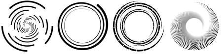 Spiral, swirl, twirl element set. Rotating circular shape Vector Illustration – Stock vector illustration, Clip art graphics