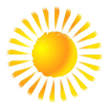 Grungy, grunge, Textured sun clip-art design element. Painted, sketchy sun drawing. Paintbrush, brushstroke effect Sun – Stock vector illustration, Clip art graphics