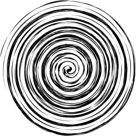 Grungy textured spirals, swirls, twirls. Helix, volute, snail shape – Stock vector illustration, Clip art graphics Ilustração Vetorial