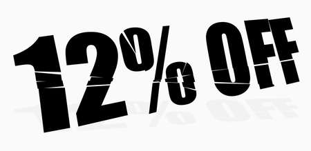 cracked, smashed, splattered and exploding percentage, discount numbers, numerals and letters for marketing, promotion vector illustration Ilustração Vetorial