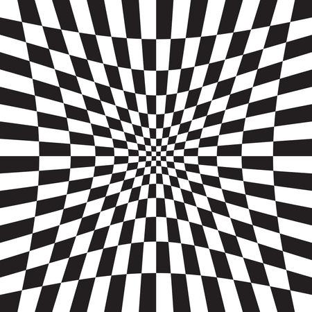 Hollow, indent, depression version Checkered, chequered, chessboard surface with distortion, deformation effect. Distort, deform squares background, pattern