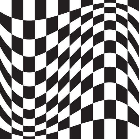 Wavy, waving version Checkered, chequered, chessboard surface with distortion, deformation effect. Distort, deform squares background, pattern.