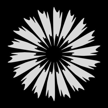 Radial element with grungy, grunge radiating lines. Burst, starburst, sunburst with grungy spokes