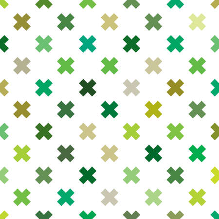 Repeatable green cross sign, mark, symbol for medical, healthcare background, illustration. Green plus sign seamless pattern. Vector illustration