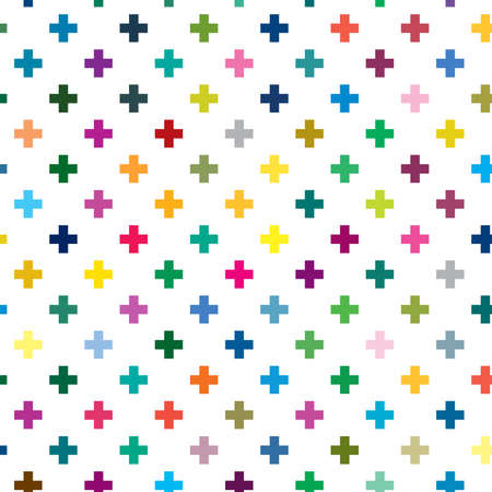 Cross, plus sign geometric seamlessly repeatable pattern, background, texture. Colorful, vivid, vibrant background illustration. Vector illustration